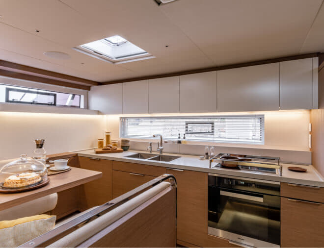 The large galley is in the aft port hull and features a dining area for crew