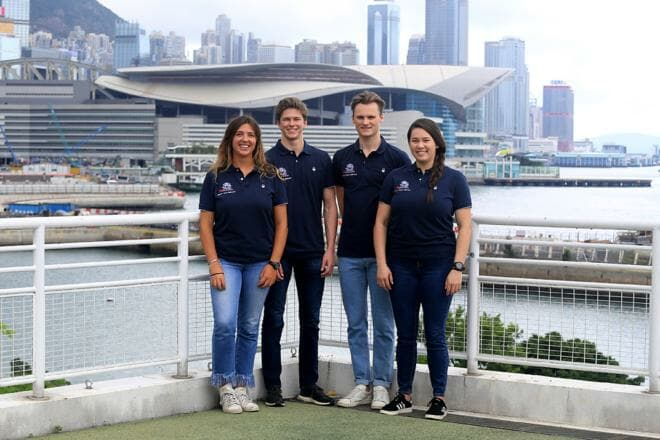 Left to right: Maria Cantero, Nicolai Jacobsen, Calum Gregor and Jackie Truhol, RHKYC Team Agiplast, Youth America's Cup