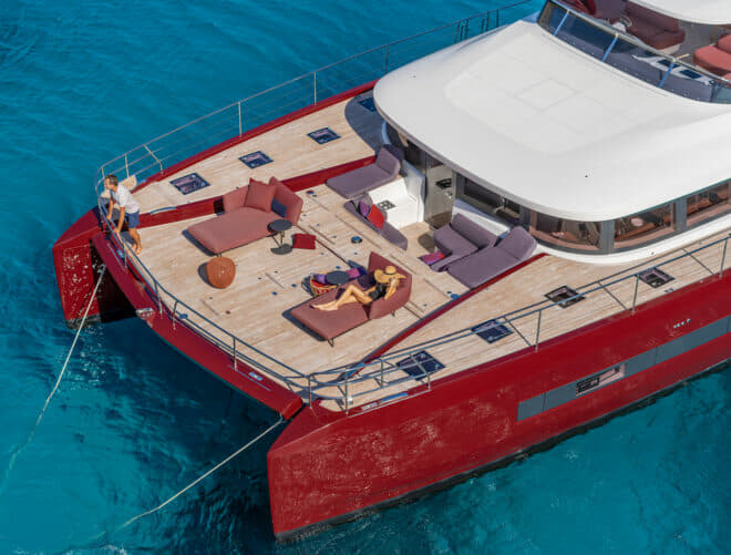 Like the Seventy 8, the Sixty 7 has a solid foredeck, which greatly increases the amount of useable living space on the motor yacht