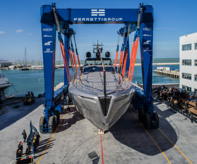 Last year's Pershing 140 launch at the Ferretti Group Superyacht Yard in Ancona
