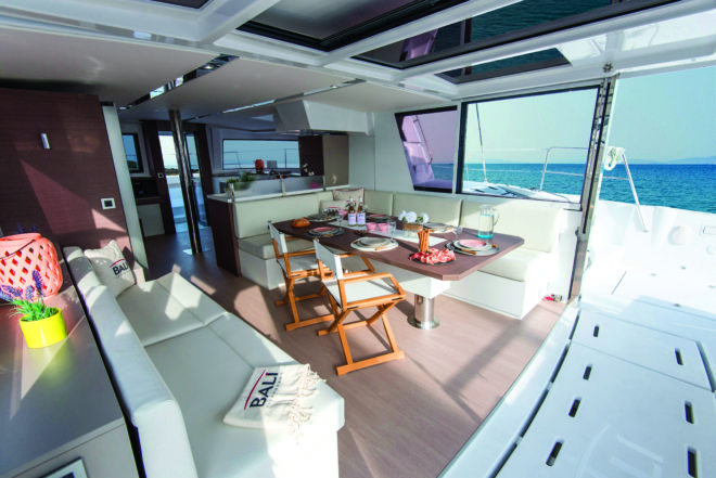 Bali Catamarans' tilting door (4.8 pictured) connects the interior and aft cockpit