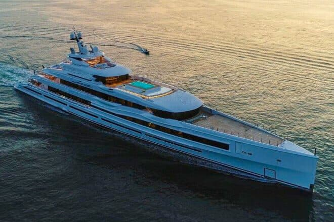 Features on the 107m Benetti Lana include a large swimming pool and a touch-and-go helipad