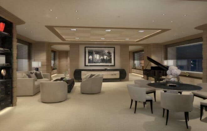 Features include a grand piano in the wheelhouse-deck saloon (above) and a full spa with hammam (below), gym and massage room