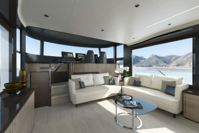 The Absolute Navetta 64 saloon is fronted by a raised twin-seat helm station