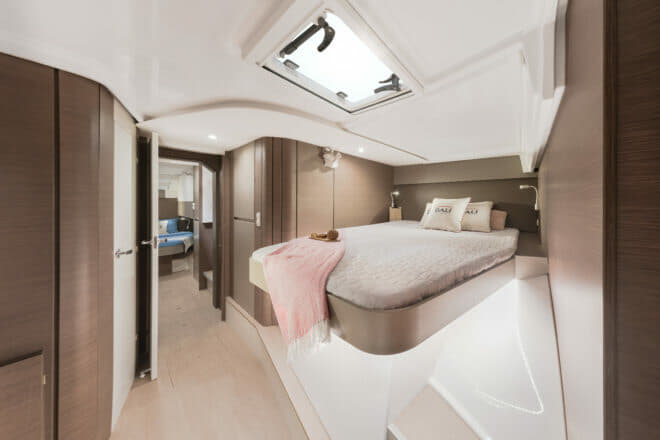 The forward starboard cabin on the Bali Catamarans Catspace Sail