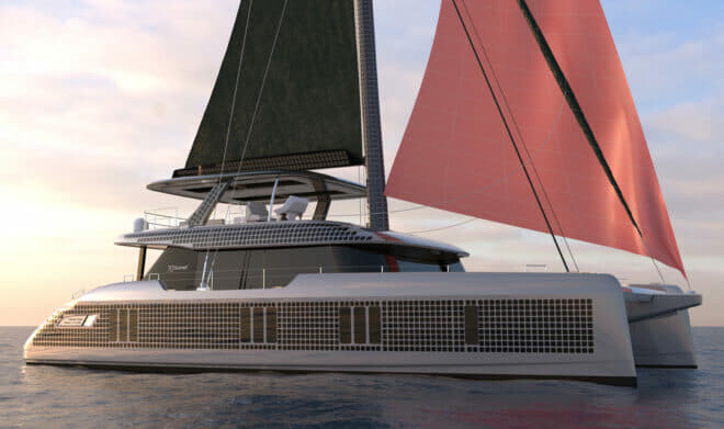 In late April, Sunreef announced its new Eco range of solar-powered luxury catamarans, which will include 70 (pictured) and 80 sailing models