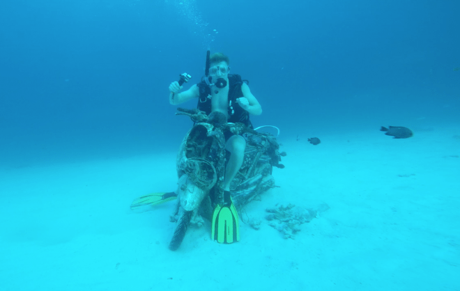 Charter guests on Lady Azul have dived with submerged trains, concrete elephants and a motorbike