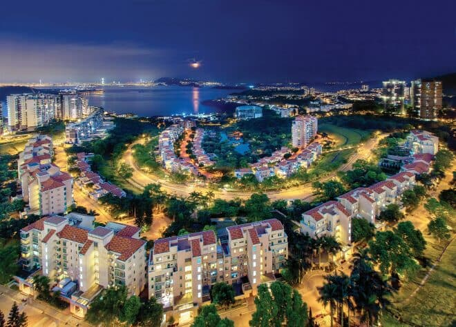 Discovery Bay at night; Lantau Yacht Club members are provided access to many of the facilities in Discovery Bay, including sports clubs and a hotel