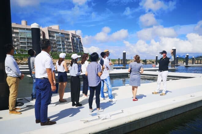 Rudy Puystjens, Marina Director, hosts a site visit for industry players