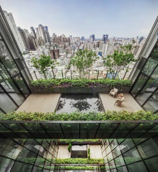 Voluminous courtyard area at Sky Green, Taichung, Taiwan, by Woha Architects (pictures by Kou Min Lee)