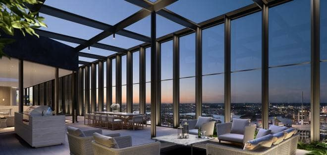 Penthouse terrace dining at Greenland Centre Sydney