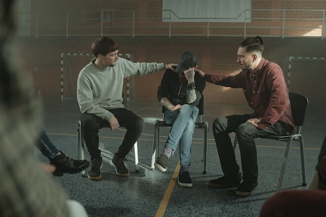 group therapy, three men