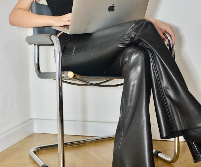 leather wide-leg pants with leather heels