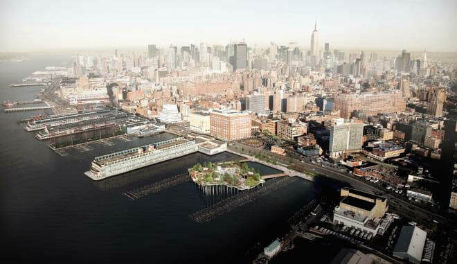 Aerial View of Little Island Park @Pier 55