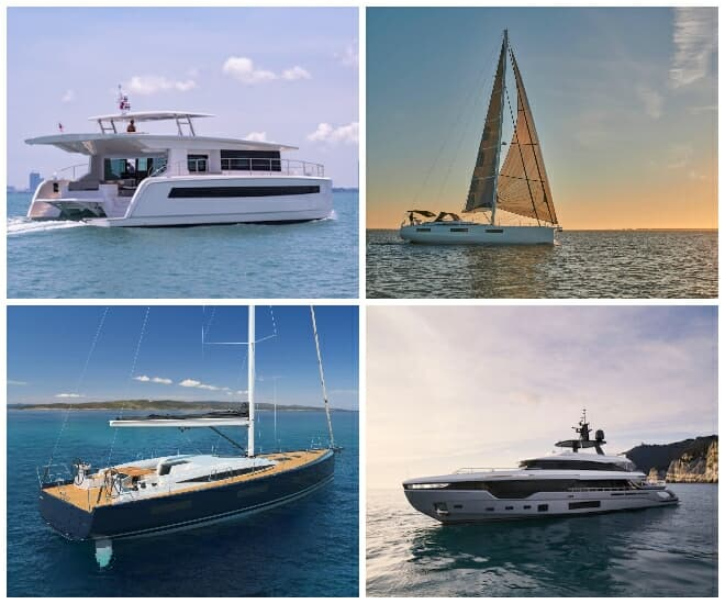 collage of yachts