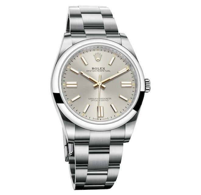Oyster Perpetual 41 in Oystersteel, fitted with a silver dial and an Oyster bracelet