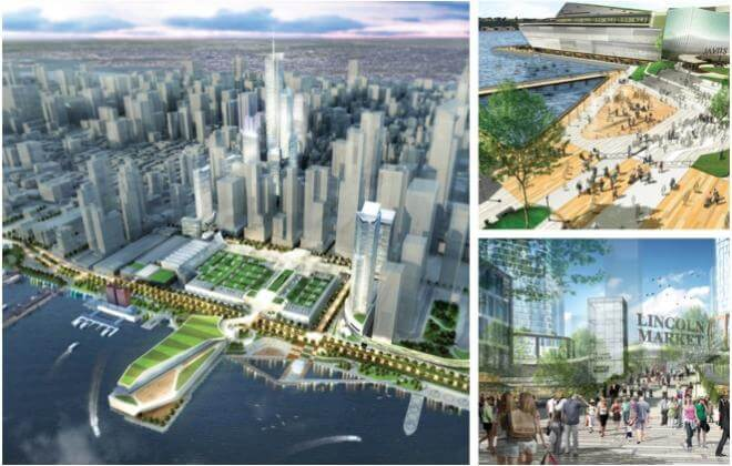 Three images depicting Perkins Eastman's proposal for the Port Authority Bus Terminal.