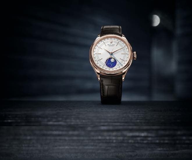 Rolex Cellini Moonphase in 18 ct Everose Gold with a leather strap