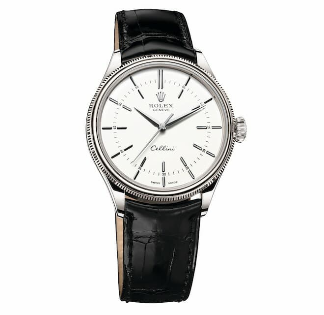Rolex Cellini Time in 18 ct white gold fitted with a double bezel and a leather strap
