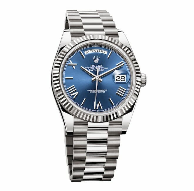 Rolex Oyster Perpetual Day-Date 40 in 18 ct white gold with bright blue dial and a President bracelet