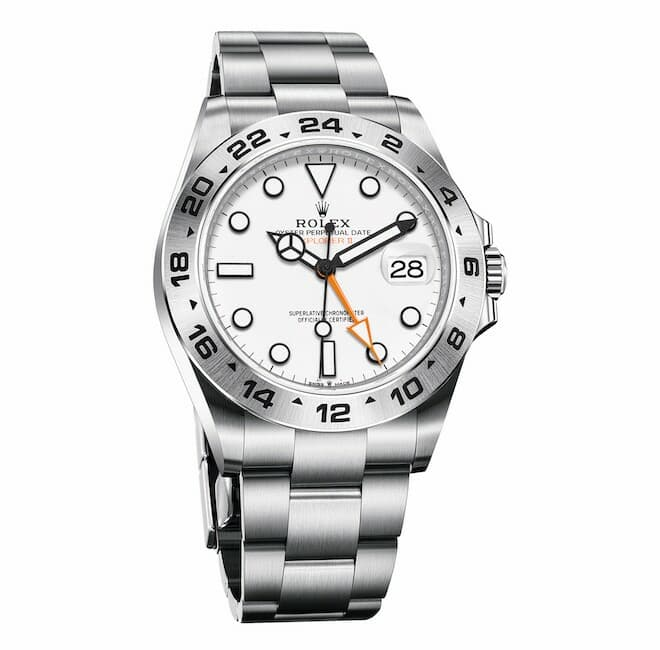 Rolex Oyster Perpetual Explorer II in Oystersteel with an engraved 24-hour bezel, white dial and an Oyster bracelet